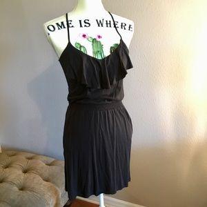 Element Summer Black Ruffle Cotten Blend Dress